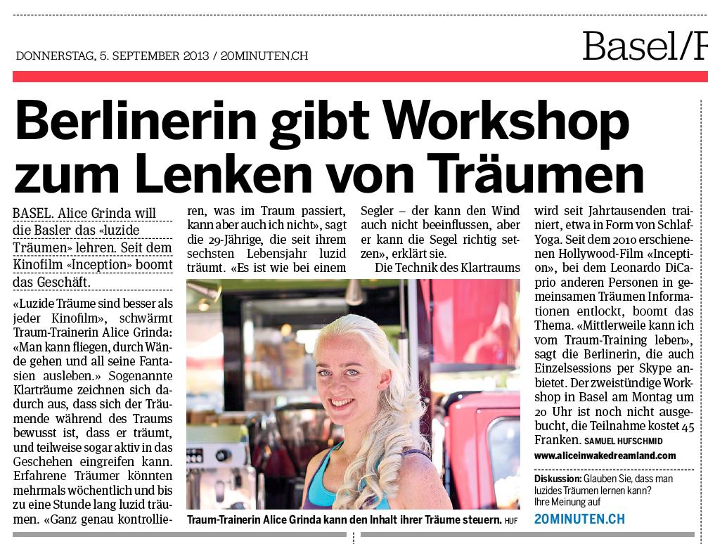"""""""Berlinerin gibt Workshop zum Lenken von Träumen"""" (in Basel - Schweiz)"""
